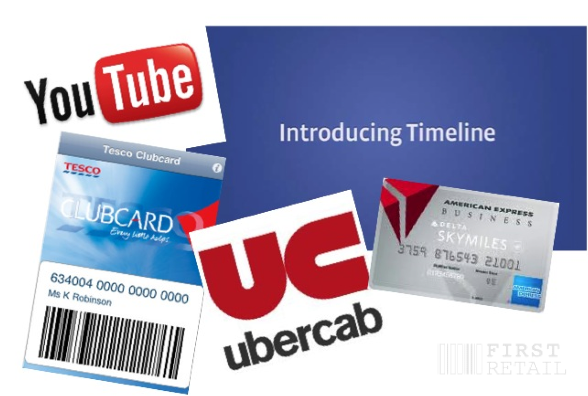 YouTube, Facebook Timeline, Tesco Clubcard, Ubercab, Delta American Express