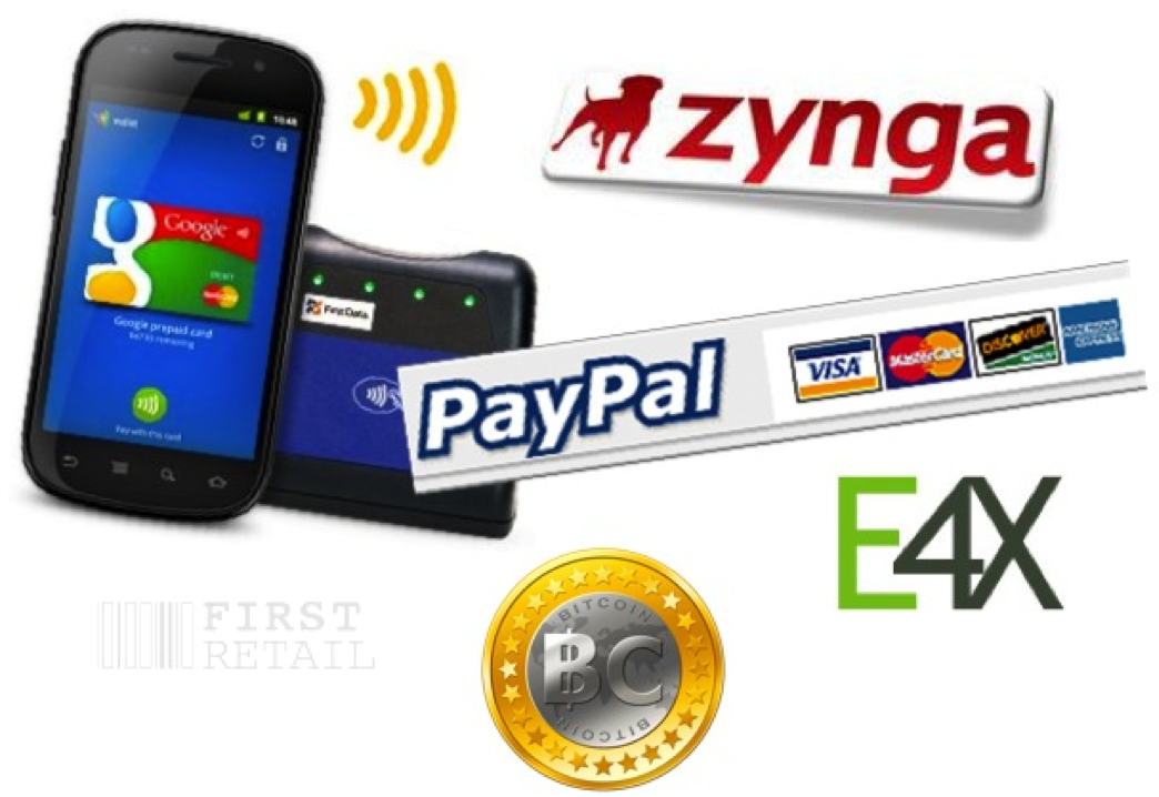 Google Payments, Zynga, Paypal, E4X, Bitcoin
