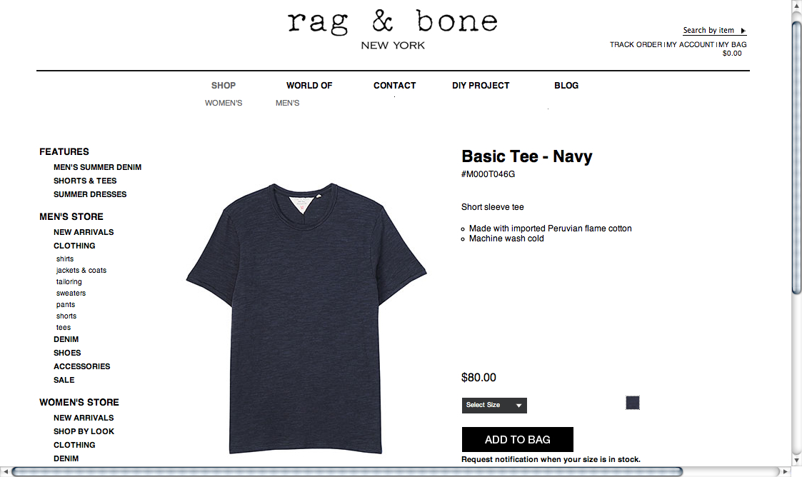 Rag and Bone, Mens Tee, VRM, Want Button